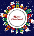 Christmas card with cute houses vector image