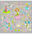 colored set teenage girl stickers cute cartoon vector image vector image
