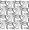 cute calligraphy hearts seamless pattern vector image vector image