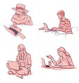 different people working at office using laptop vector image vector image