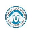 dog head stamp logo design template vector image vector image