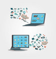 electronic devices with social media icons vector image vector image