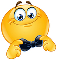 emoticon with bow tie vector image