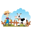Farmer and cow vector image vector image