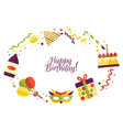 flat happy birthday card template vector image