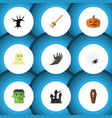 flat icon halloween set of zombie terrible vector image vector image