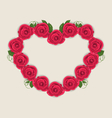 Floral postcard with heart made in roses for vector image vector image