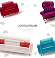 furniture objects colorful template vector image vector image