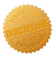 gold discipline badge stamp vector image vector image