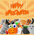 halloween banner with flat sticker vector image vector image