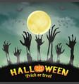 halloween zombie hand in a night graveyard vector image vector image