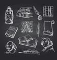 hand drawn theatre set on black chalkboard vector image