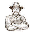 happy farmer in the hat vintage sketch vector image vector image