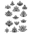 Large set of ornate vintage flower motifs vector image vector image