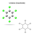 Lindane - model and formula of insecticide vector image vector image