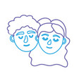 line couple lover head with closed eyes and vector image vector image