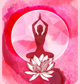 lotus flower and female silhouette yoga emblem vector image