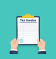 man hold tax invoice checklist payment and vector image