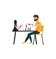 man playing chess with a robot assistant vector image