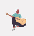 man playing guitar african american guitarist vector image