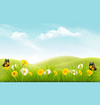 nature background with grass and flowers and vector image vector image