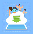 people on download cloud storage network tablet vector image vector image