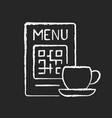 qr menu chalk white icon on black background vector image vector image