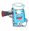 sailor with binocular education mascot cartoon vector image vector image