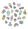 set bright cute pins vector image vector image