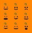 set halloween pumpkin faces on orange vector image