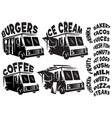 set mobile shop vans food trucks vector image