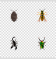 set of insect realistic symbols with scorpion vector image