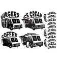 set of mobile shop vans food trucks with vector image