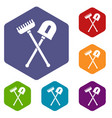 shovel and rake icons set vector image vector image