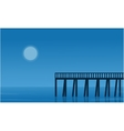 Silhouette of pier on seaside scenery vector image vector image