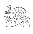 snail isolated line art page for coloring book vector image