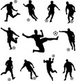 soccer players silhouettes collection vector image