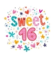 Sweet Sixteen text decorative retro typography vector image vector image