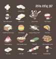 tofu dishes icon set 18 line art colored icons vector image