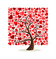 tree made of red love heart shape leaves vector image
