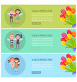 valentines day postcards set with young lovers vector image