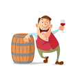 winemaker tasting red wine vector image vector image