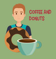 young man with coffee and donuts vector image
