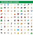 100 england icons set cartoon style vector image