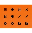 Application interface icons on orange background vector image vector image