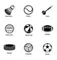 athletic stuff icons set simple style vector image vector image