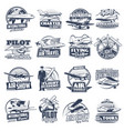 aviation icons vintage and modern planes vector image vector image