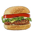 big burger with fried cutlets vector image vector image