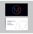 business-card-letter-m vector image vector image