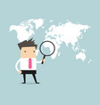 businessman holding magnifying glass vector image vector image